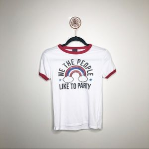 We the People Like To Party Graphic Ringer Tee